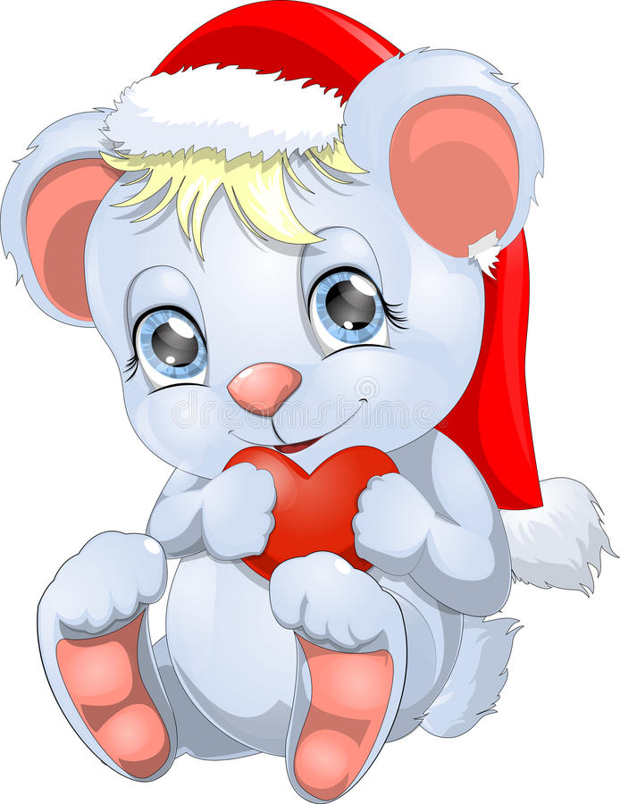 White little bear. New Year's bear cub who has control over a heart vector illustration