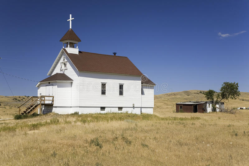 White Little Prairie Church Royalty Free Stock Images