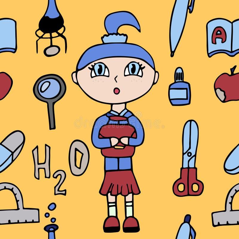 White little surprised schoolgirl in a school uniform . study supplies seamless pattern. stock vector illustration vector illustration