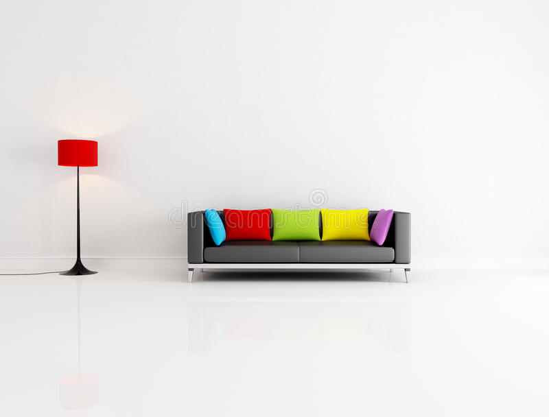 White living room. White minimalist living room with black couch with colored cushion - rendering