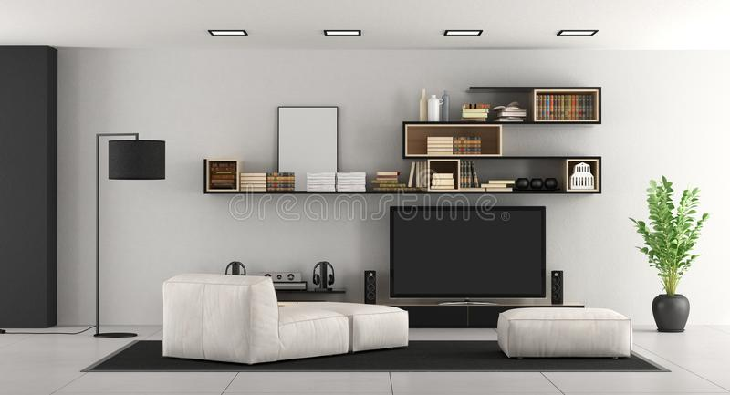 Living room with tv. White living room with bookcase,chaise lounge,footsttol and TV set - 3d rendering vector illustration