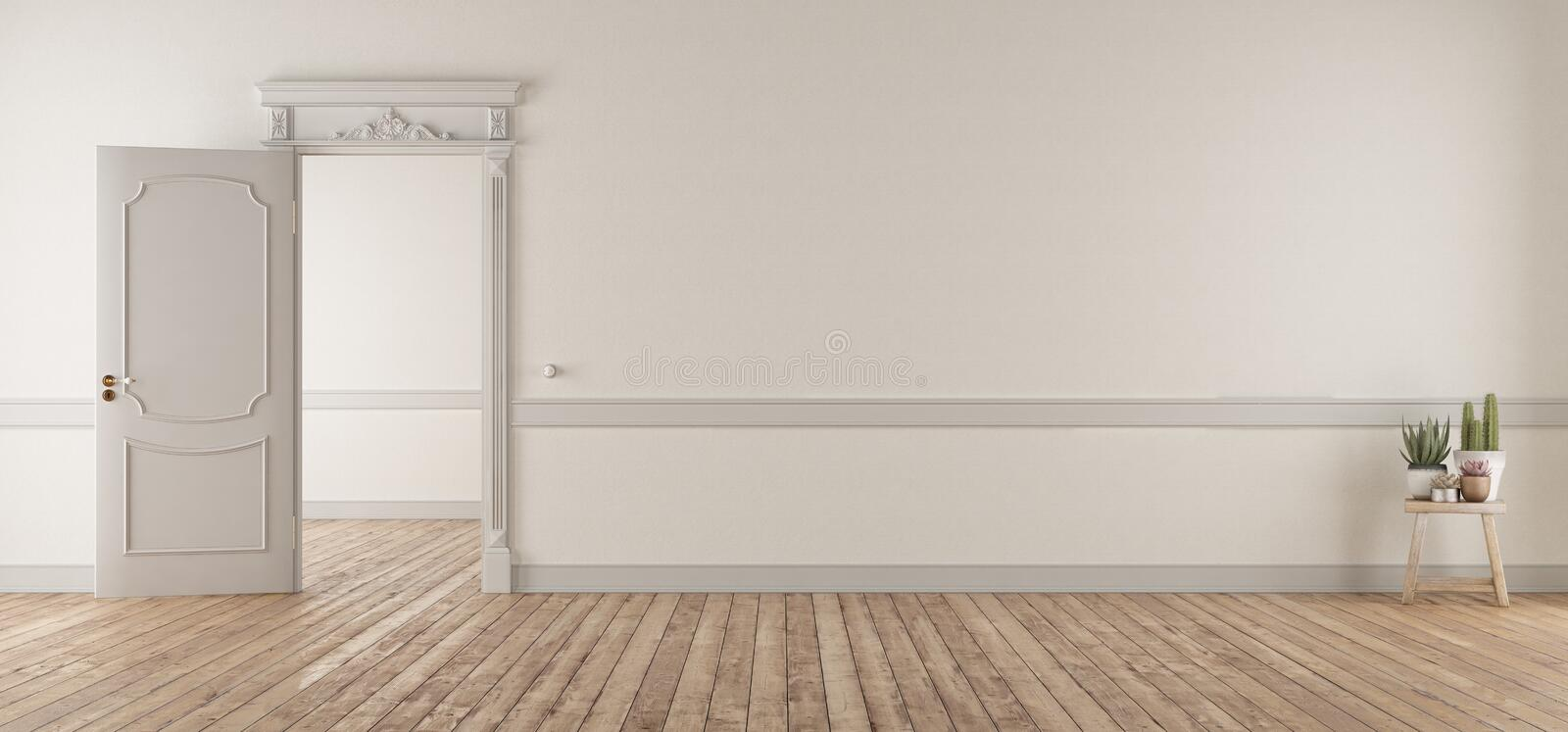 White living room in classic style with open door stock illustration