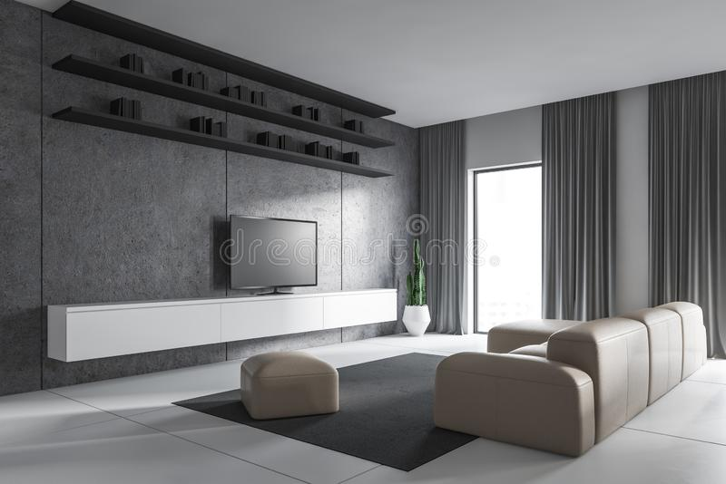 White living room corner with sofa and TV. Interior of modern living room with white and concrete walls, beige sofa, modern TV set standing on white cabinet and vector illustration