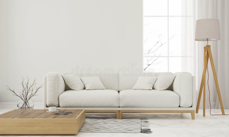 White living room. 3D illustration. Modern white living room with wooden elements royalty free illustration