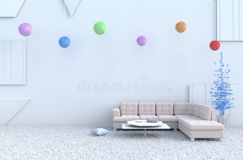 White living room on  new year. 3d render. royalty free stock photo