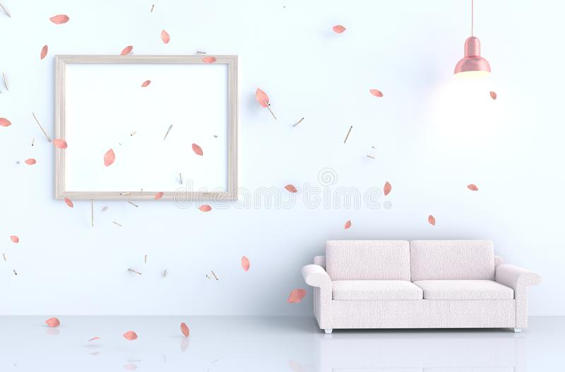 White living room decor with picture frame and blow pink leaves royalty free illustration
