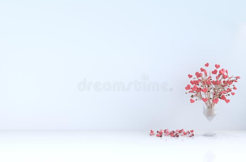 White empty room of love on Valentine's day and new year. 3D render. White room of love. Decorated with red heart, tree, red rose and petals. Rooms of Love stock image