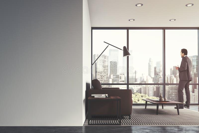 Download White Living Room Interior, Brown Sofa, Man Stock Illustration    Illustration Of Floor