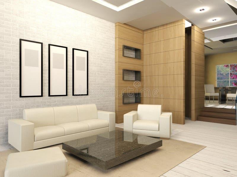 White living room interior in modern design stock images