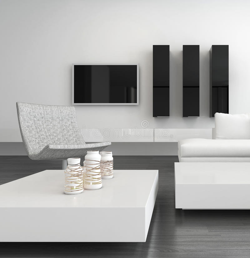White living room interior with modern furniture. Picture of White living room interior with modern furniture vector illustration