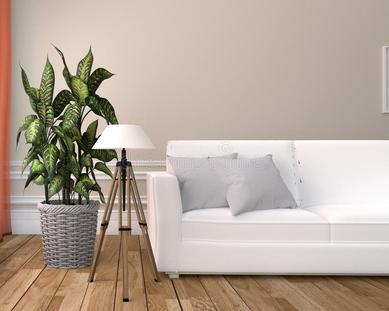 White Living Room Interior - White sofa and lamp - Empty white wall on Wooden floor. 3D rendering stock photography