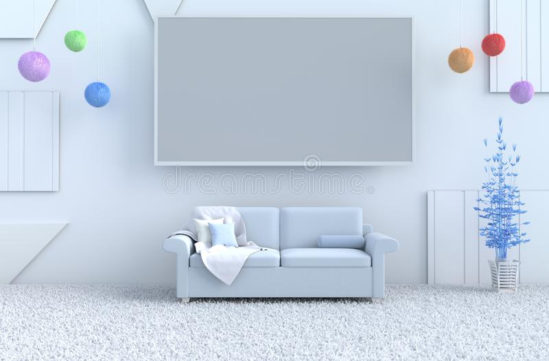 White living room on  new year. 3d render. stock images