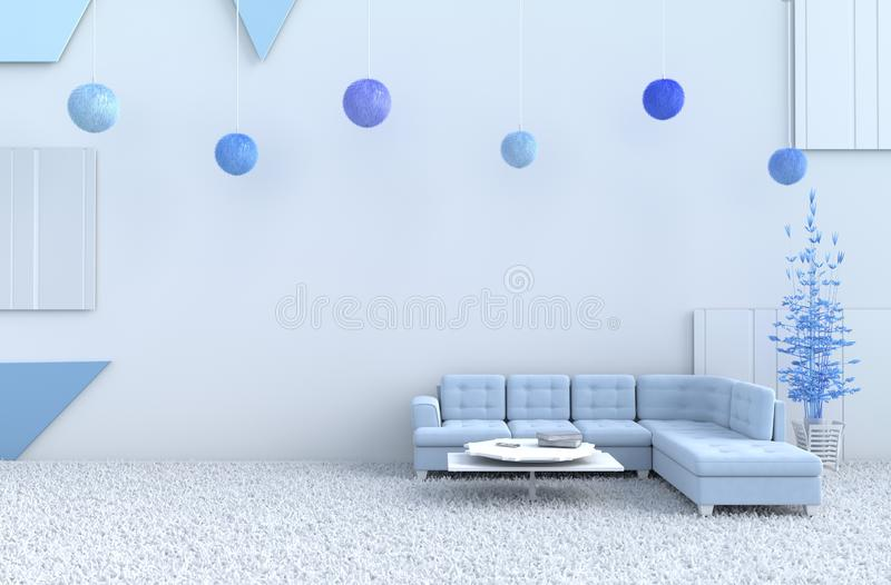 White living room on  new year. 3d render. stock photos