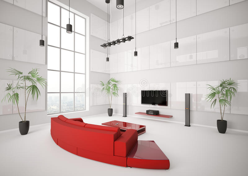 Download White Living Room With Red Sofa Interior 3d Stock Illustration - Image: 16126715