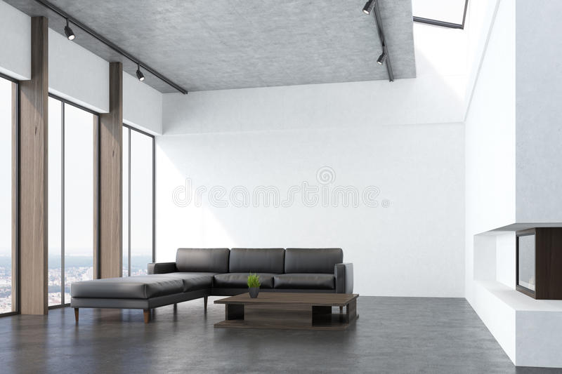 White living room with a sofa, side vector illustration
