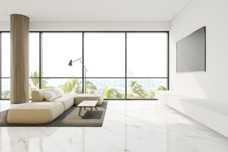 White living room with TV and sofa. Luxury panoramic living room interior with white walls, marble floor, beige sofa standing on gray carpet with coffee table vector illustration