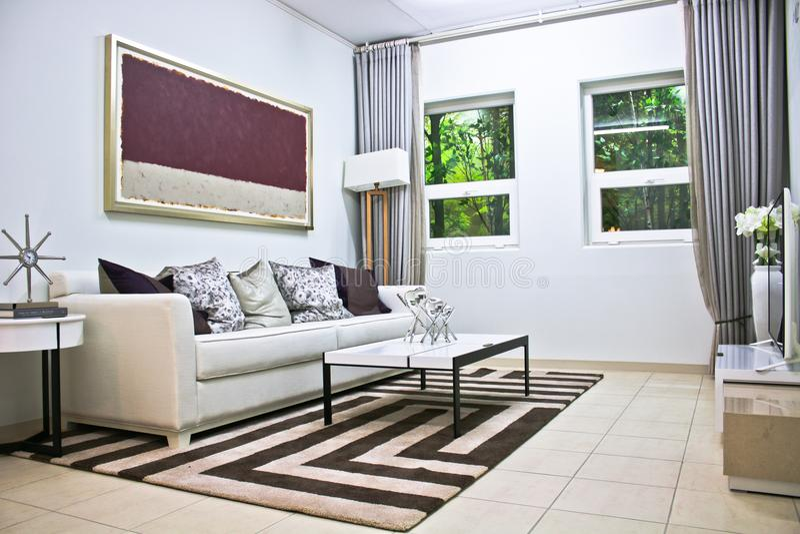 White Living Room Beside Window royalty free stock image