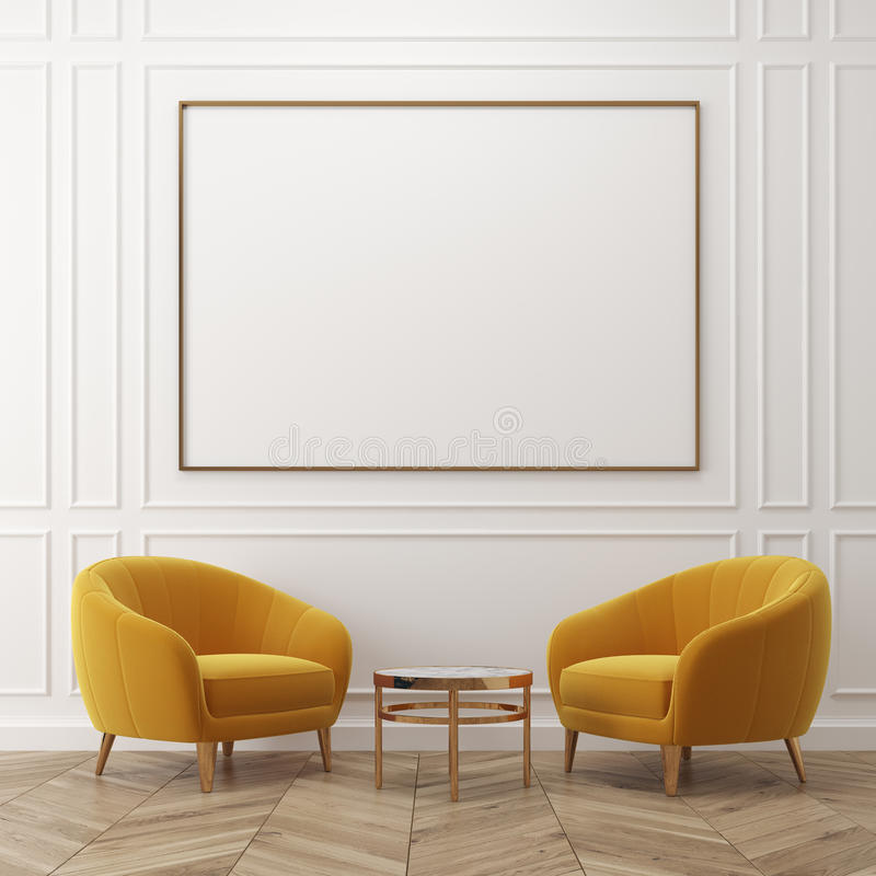 White living room, yellow armchairs, poster royalty free illustration