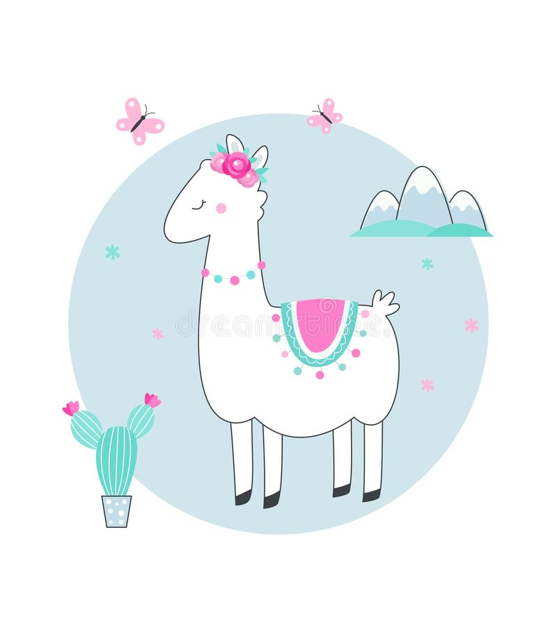 White Llama or Alpaca with Cacti, Flowers and Mountains Vector Illustration royalty free illustration