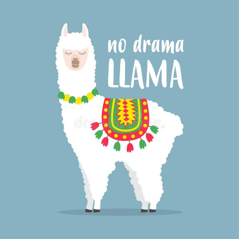 White llama with lettering. No drama llama. Motivational poster for prints. Vector illustration vector illustration