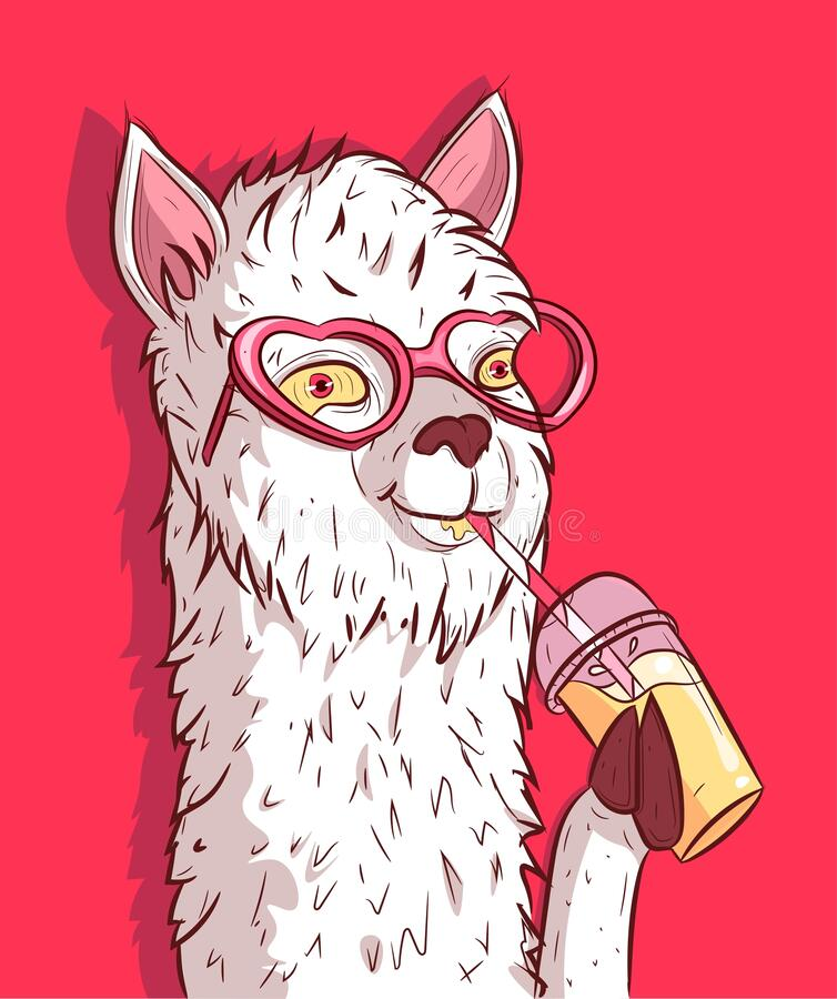Free White Llama With Heart Shaped Sunglasses Drinking Lemonade. Funky Alpaca Holding A Plastic Cup Of Cold Beverage Royalty Free Stock Photos - 182480378