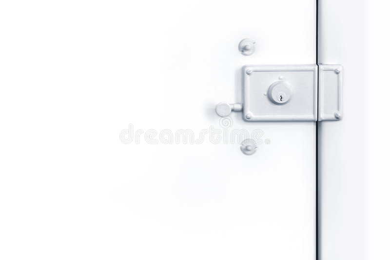 White Lock. Photo of closed white door with old lock stock images