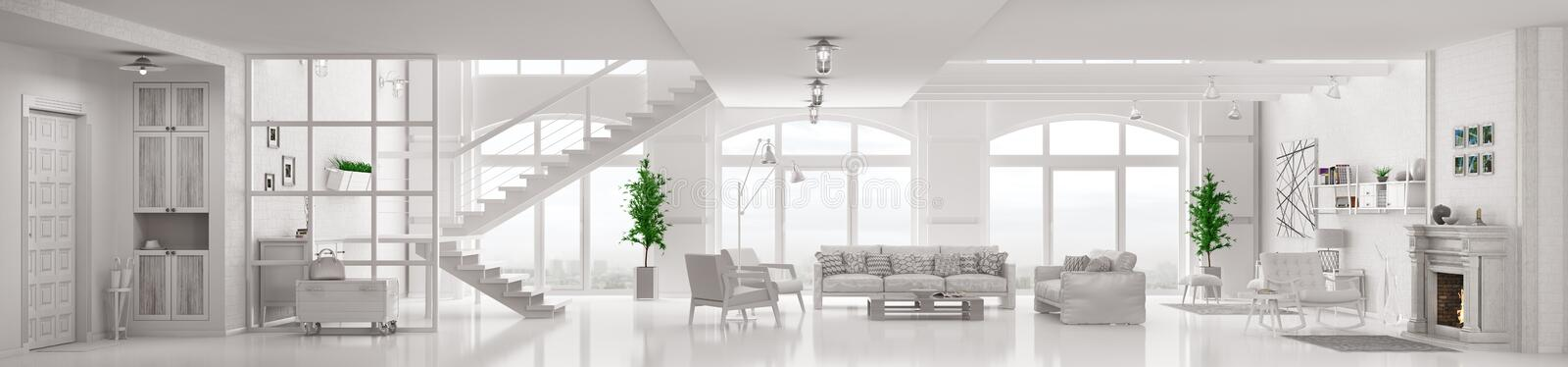 White loft apartment interior 3d rendering stock illustration