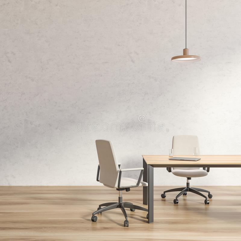 White loft conference room with white chairs stock illustration