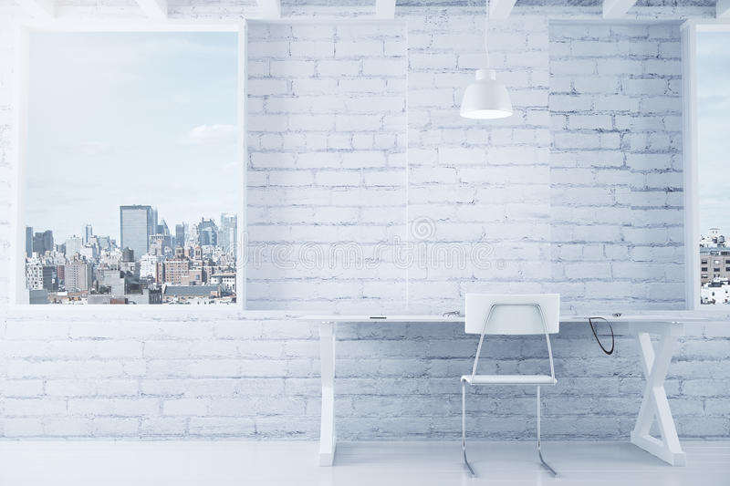 White loft interior with table, chair, brick wall and windows royalty free stock images