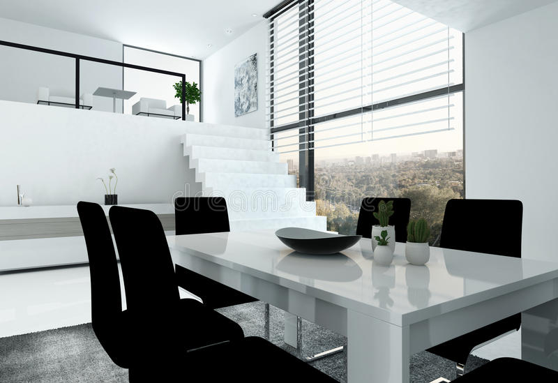 White loft with stair and dining table stock illustration