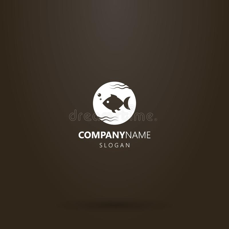 Vector round negative space round logo of fish swimming in water. White logo on a black background. simple vector round negative space round logo of fish stock illustration