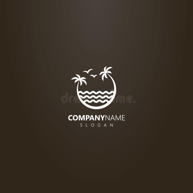 Logo of two palm trees leaning over the sea waves. White logo on a black background. vector logo of two palm trees leaning over the sea waves royalty free illustration