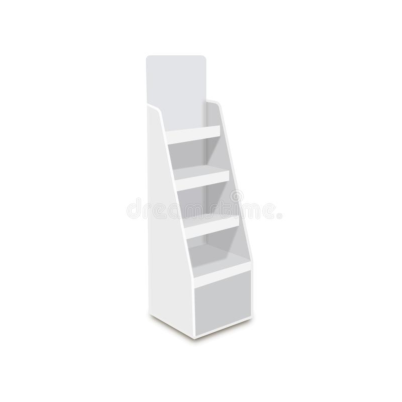 White Long Blank Empty Showcase Displays With Retail Shelves. 3D Products On White Background Isolated. Ready For Your Design Avy royalty free illustration