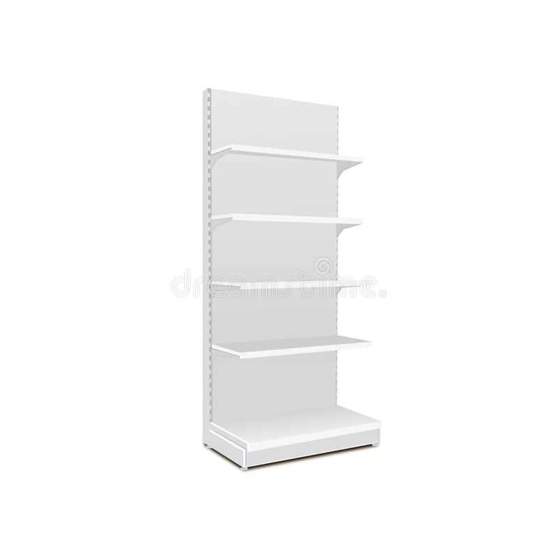 White Long Blank Empty Showcase Displays With Retail Shelves. 3D Products On White Background Isolated. Ready For Your Design royalty free illustration