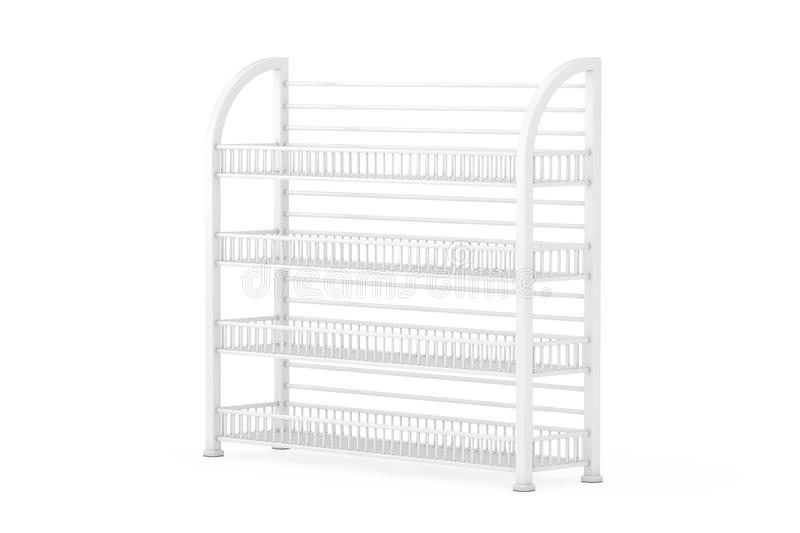 White Long Empty Showcase Displays with Retail Shelves. 3d Rendering royalty free stock photo