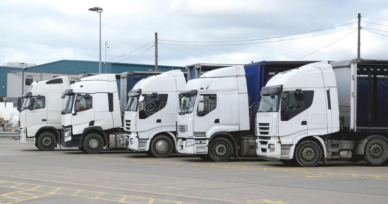 White lorries. Group of white trucks in a row stock photo