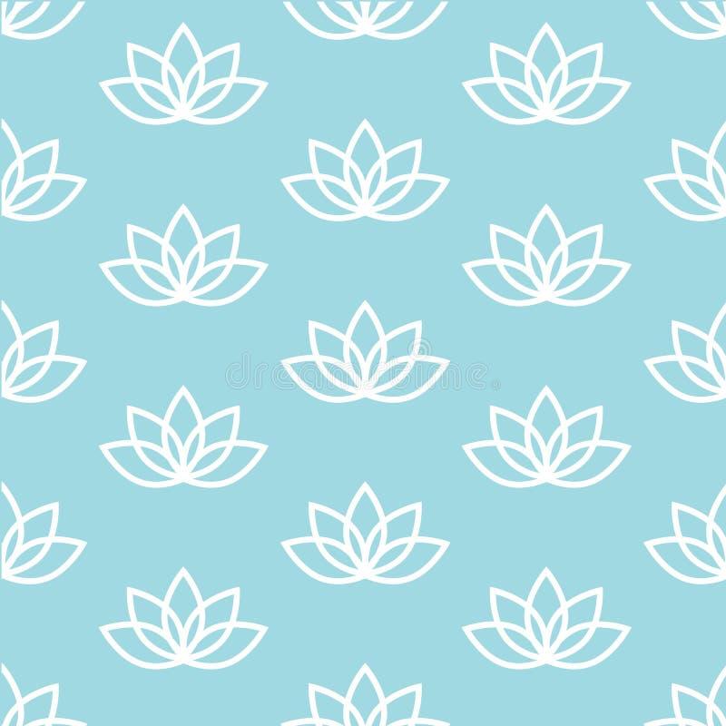 White lotus on a blue background zen pattern seamless stock illustration