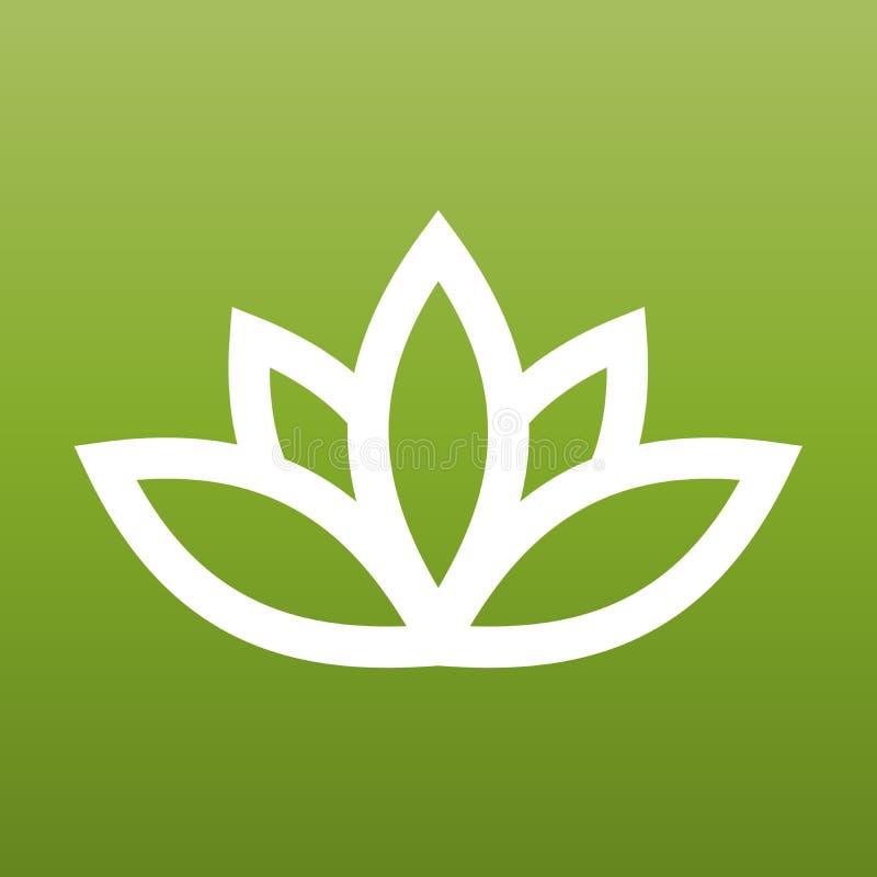White lotus symbol on green background. Spa and wellness theme design element. Vector illustration.  royalty free illustration
