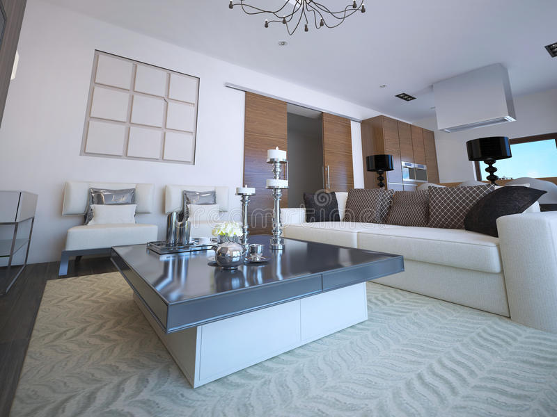 White lounge with classic furniture. Low table with decorations, patterned carpet. 3D render stock illustration