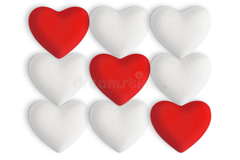 White love hearts with red hearts. In a straight row on a white background vector illustration