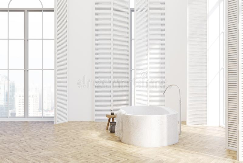White luxury bathroom interior, side view stock illustration