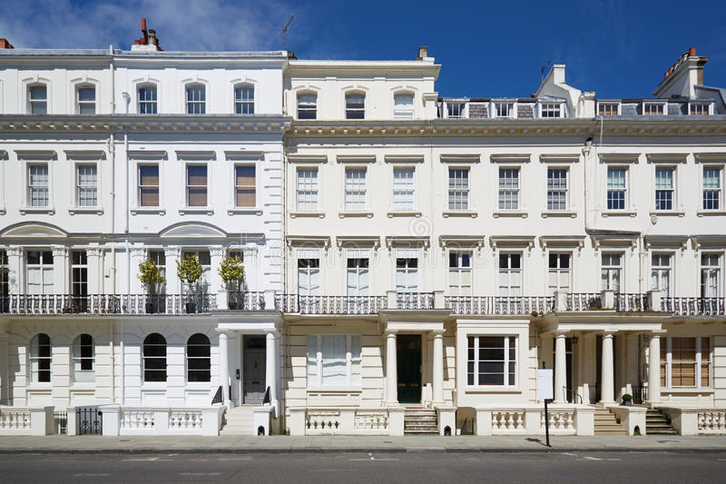 White luxury houses facades in London royalty free stock images