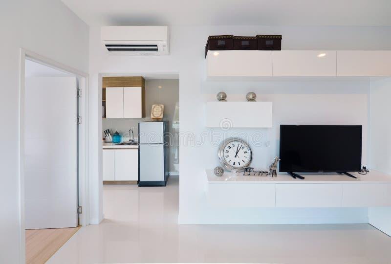 white luxury modern living interior and decoration, interior design stock images