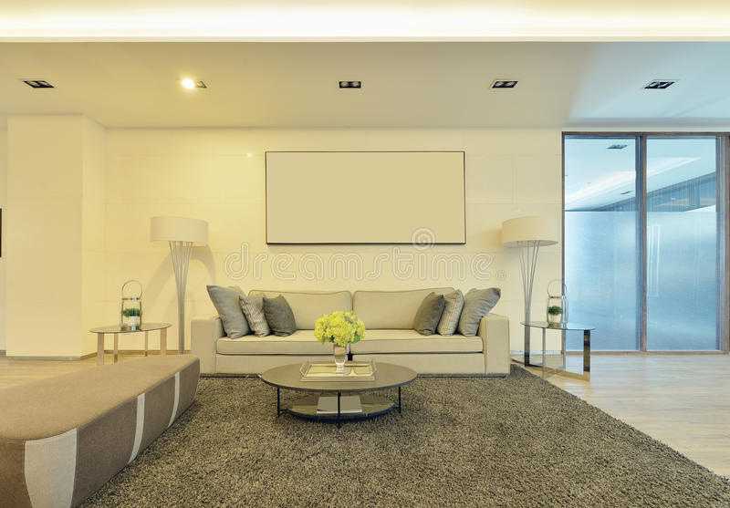 white luxury modern living interior and decoration, interior design royalty free stock image