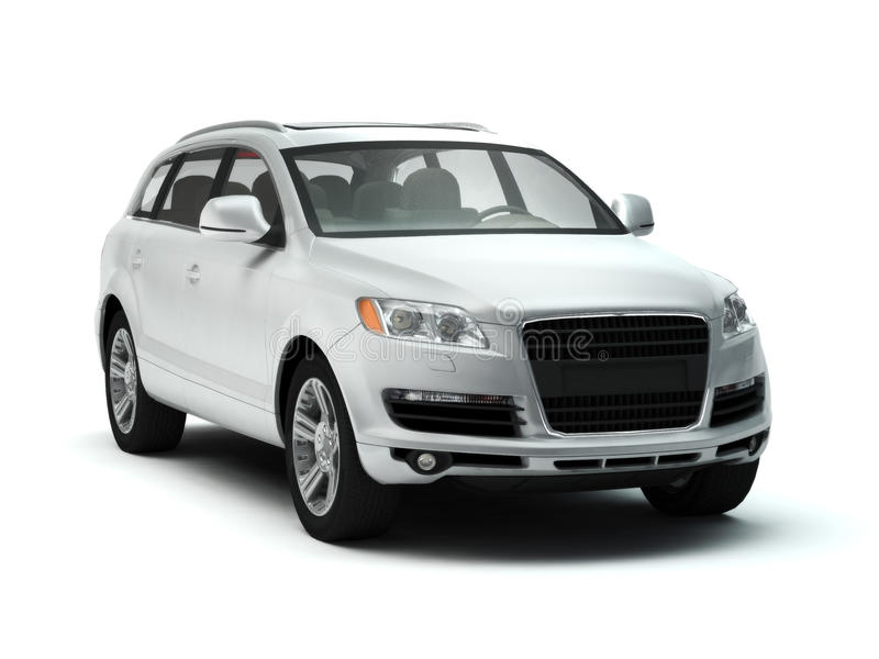 White luxury SUV royalty free stock images