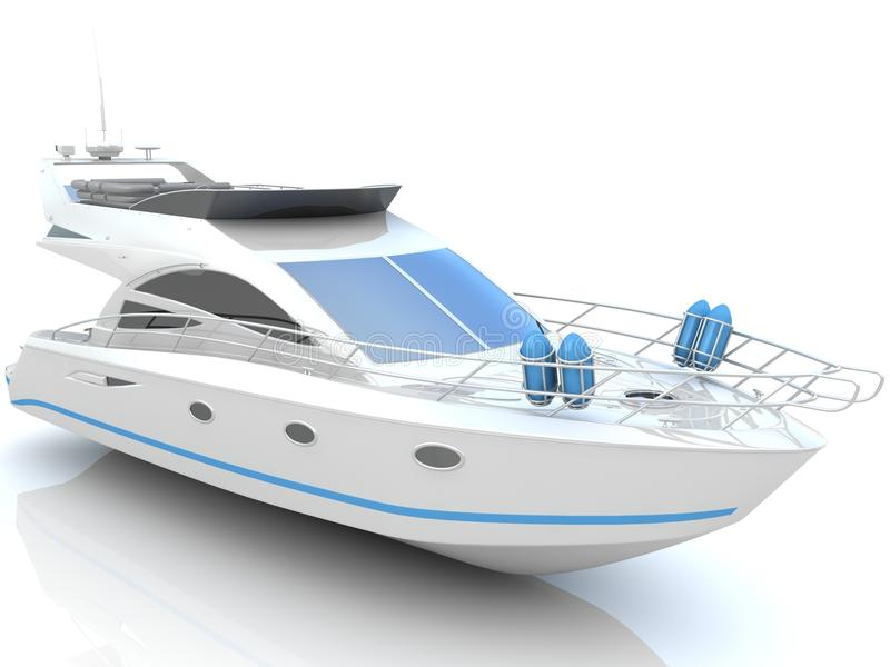 White luxury yacht. Isolated on a white background vector illustration