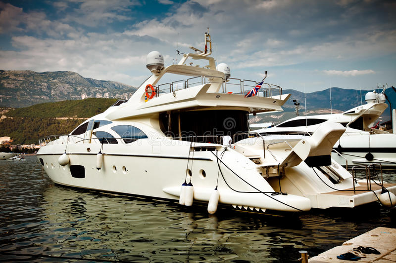 White luxury yacht stock images