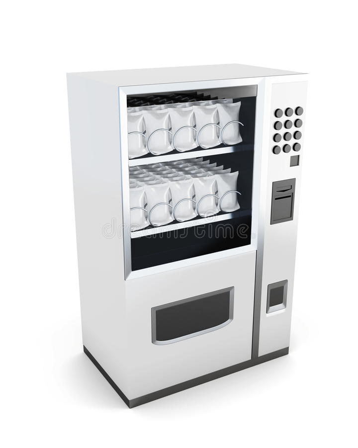 White machine for sale of snacks isolated on white background. 3d render stock illustration