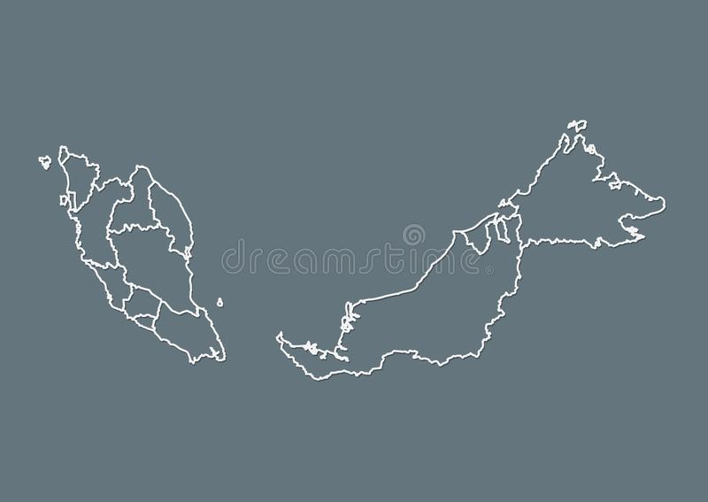 White Malaysia map with border lines of different states on dark background vector illustration. White Malaysia map with border lines of different states on dark stock illustration
