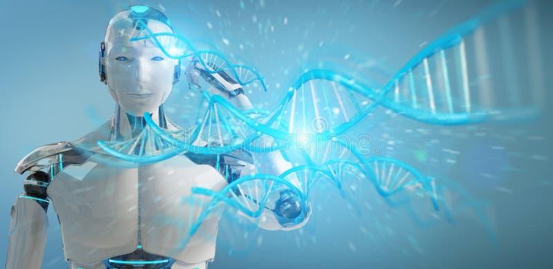 White male cyborg scanning human DNA 3D rendering stock illustration